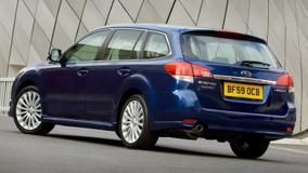 2010 Subaru Legacy Tourer In Blue Back Side Pose